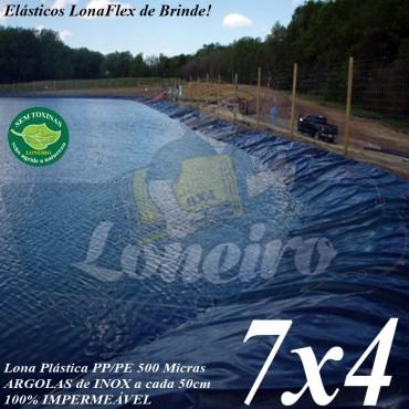 Lona para Lago Tanque de Peixes PP/PE 7,0 x 4,0m Cinza Chumbo / Preta impermeável e atóxica para Lagos Artificiais e Armazenagem de Água