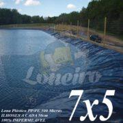 Lona para Lago Ornamental PP/PE 7,0 x 5,0m Azul / Cinza para Lagos Artificiais de Peixes Tanques Jardim Armazenagem de Água e Cisternas