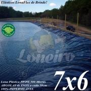 Lona para Lago Ornamental PP/PE 7,0 x 6,0m Azul / Cinza para Lagos Artificiais de Peixes Tanques Jardim Armazenagem de Água e Cisternas