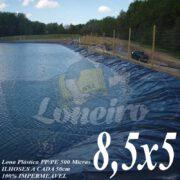Lona para Lago Tanque de Peixes PP/PE 8,5 x 5,0m Azul / Cinza para Lago Ornamental, Poço, Ranário, Armazenagem de Água e Cisterna