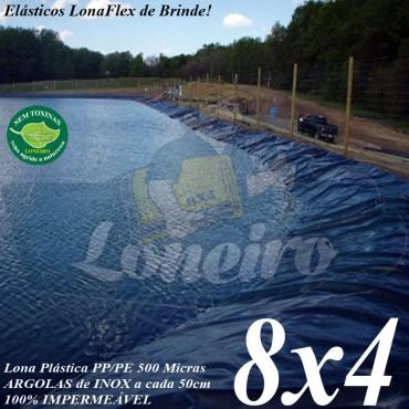 Lona para Lago Tanque de Peixes PP/PE 8,0 x 4,0m Cinza Chumbo / Preta impermeável e atóxica para Lagos Artificiais e Armazenagem de Água e Cisterna