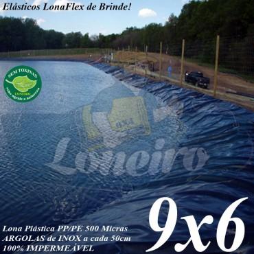 Lona para Lago Tanque de Peixes PP/PE 9,0 x 6,0m Cinza Chumbo / Preta impermeável e atóxica para Lagos Artificiais e Armazenagem de Água