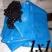 Lona 1,0 x 1,0m Azul 300 Micras + 6 Elásticos LonaFlex 15cm