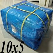 Lona: 10,0 x 5,0m Azul 300 Micras para Telhado, Barraca, Cobertura e Proteção Multi-Uso + 30 Elásticos LonaFlex 30cm