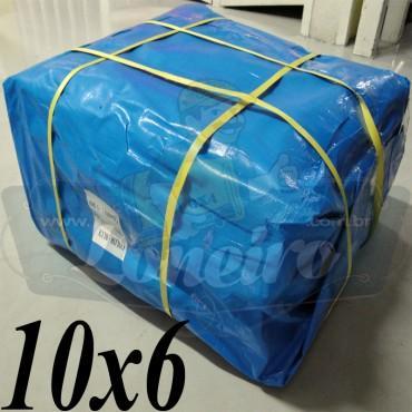 Lona: 10,0 x 6,0m Azul 300 Micras para Telhado, Barraca, Cobertura e Proteção Multi-Uso + 32 Elásticos LonaFlex 30cm