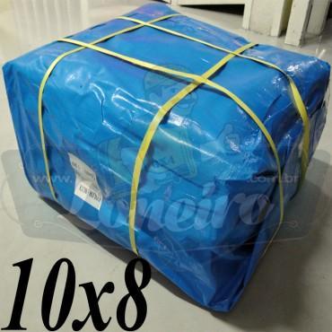 Lona: 10,0 x 8,0m Azul 300 Micras para Telhado, Barraca, Cobertura e Proteção Multi-Uso + 36 Elásticos LonaFlex 30cm