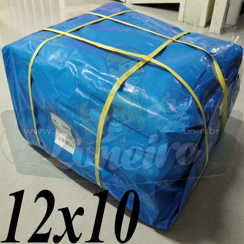 Lona: 12,0 x 10,0m Azul 300 Micras para Telhado, Barraca, Cobertura e Proteção Multi-Uso + 44 Elásticos LonaFlex 30cm