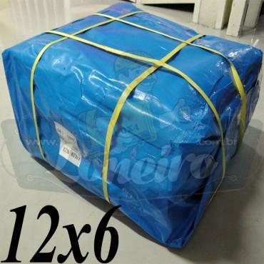Lona: 12,0 x 6,0m Azul 300 Micras Impermeável para Telhado, Barraca, Cobertura e Proteção Multi-Uso com ilhoses a cada 1 metro