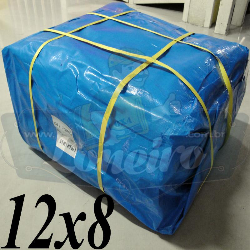 Lona: 12,0 x 8,0m Azul / Branca 300 Micras para Telhado, Barraca, Cobertura e Proteção Multi-Uso + 40 Elásticos LonaFlex 30cm