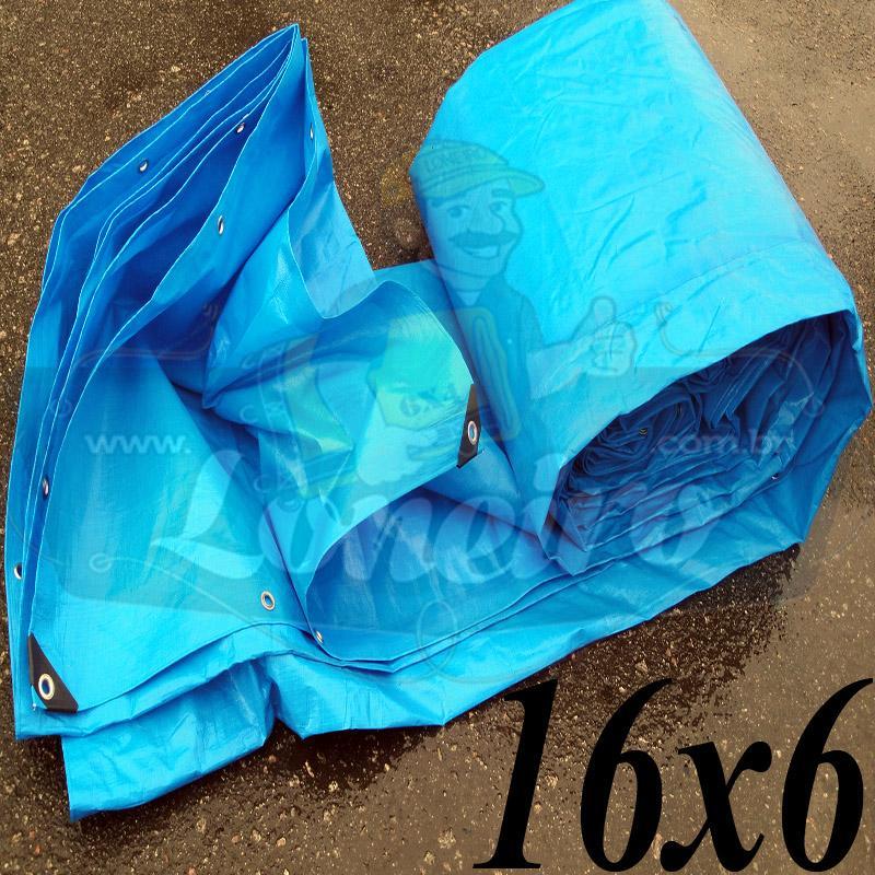 Lona: 16,0 x 6,0m Azul 300 Micras com ilhoses a cada 50cm + 44 Elásticos LonaFlex 30cm de brinde!