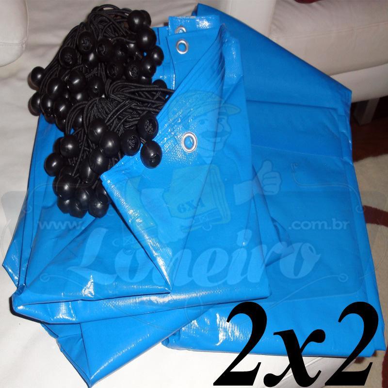 Lona 2,0 x 2,0m Azul 300 Micras Carreteiro Ilhoses a cada 1 metro + 10 Elásticos LonaFlex 30cm de brinde!