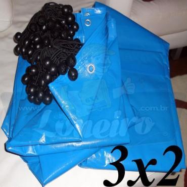 Lona 3,0 x 2,0m Azul 300 Micras com ilhoses a cada 1 metro + 15 Elásticos LonaFlex 30cm de brinde!