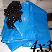 Lona 4,0 x 3,0m Azul 300 Micras com ilhoses a cada 1 metro + 15 Elásticos LonaFlex 30cm de brinde!