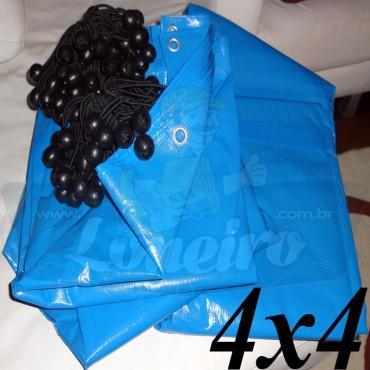Lona 4,0 x 4,0m Azul 300 Micras para Telhado, Barraca, Cobertura e Proteção Multi-Uso + 16 Elásticos LonaFlex 30cm