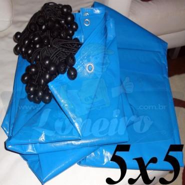 Lona 5,0 x 5,0m Azul 300 Micras Carreteiro com Ilhoses + 20 Elásticos LonaFlex 20cm ( para Telhado, Barraca, Cobertura e Proteção Multi-Uso)