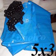 Lona 5,0 x 3,0m Azul 300 Micras Loneiro com Ilhoses + 16 Elásticos LonaFlex 20cm (para Telhado, Barraca, Cobertura e Proteção Multi-Uso)
