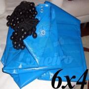 Lona 6,0 x 4,0m Azul 300 Micras + 20 Elásticos LonaFlex 20cm (para Telhado, Barraca, Cobertura e Proteção Multi-Uso)