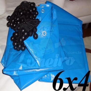 Lona 6,0 x 4,0m Azul 300 Micras + 25 Elásticos LonaFlex 20cm (para Telhado, Barraca, Cobertura e Proteção Multi-Uso)