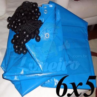 Lona 6,0 x 5,0m Azul 300 Micras + 25 Elásticos LonaFlex 30cm ( para Telhado, Barraca, Cobertura e Proteção Multi-Uso )