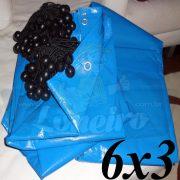 Lona 6,0 x 3,0m Azul 300 Micras + 18 Elásticos LonaFlex 20cm (para Telhado, Barraca, Cobertura e Proteção Multi-Uso)