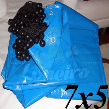 Lona 7,0 x 5,0m Azul 300 Micras + 25 Elásticos LonaFlex 30cm para Telhado, Barraca, Cobertura e Proteção Multi-Uso