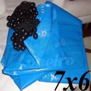 Lona 7,0 x 6,0m Azul 300 Micras + 30 Elásticos LonaFlex 20cm