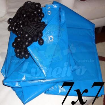 Lona 7,0 x 7,0m Azul 300 Micras para Telhado, Barraca, Cobertura e Proteção Multi-Uso + 30 Elásticos LonaFlex 30cm