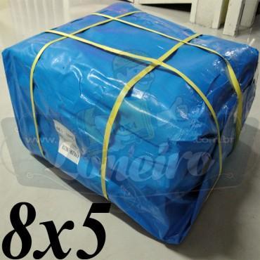 Lona 8,0 x 5,0m Azul 300 Micras para Telhado, Barraca, Cobertura e Proteção Multi-Uso + 26 Elásticos LonaFlex 30cm
