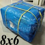 Lona 8,0 x 6,0m Azul 300 Micras para Telhado, Barraca, Cobertura e Proteção Multi-Uso + 28 Elásticos LonaFlex 30cm