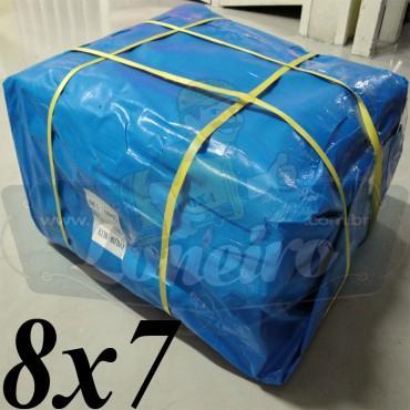 Lona 8,0 x 7,0m Azul 300 Micras com ilhoses a cada 1 metro + 30 Elásticos LonaFlex 30cm de brinde!