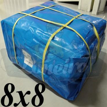 Lona 8,0 x 8,0m Azul 300 Micras com ilhoses a cada 1 metro + 32 Elásticos LonaFlex 30cm de brinde!