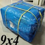 Lona 9,0 x 4,0m Azul 300 Micras para Telhado, Barraca, Cobertura e Proteção Multi-Uso + 26 Elásticos LonaFlex 30cm