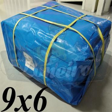 Lona 9,0 x 6,0m Azul 300 Micras para Telhado, Barraca, Cobertura e Proteção Multi-Uso com bainha e ilhoses a cada 1 metro