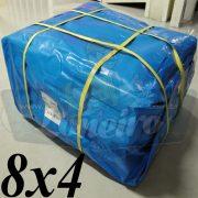 Lona 8,0 x 4,0m Azul 300 Micras para Telhado, Barraca, Cobertura e Proteção Multi-Uso + 25 Elásticos LonaFlex 30cm