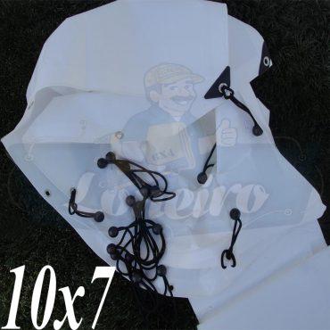Lona: 10,0 x 7,0m Plástica Branca 300 Micras + ilhoses a cada 50cm para Telhado Barraca Cobertura Proteção Multi Uso + 68 Elásticos LonaFlex 20cm