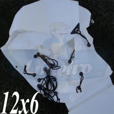 Lona: 12,0 x 6,0m Plástica Branca 300 Micras + ilhoses a cada 50cm para Telhado Barraca Cobertura Proteção Multi Uso + 36 Elásticos LonaFlex 20cm
