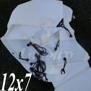 Lona: 12,0 x 7,0m Plástica Branca 300 Micras + ilhoses a cada 50cm para Telhado Barraca Cobertura Proteção Multi Uso + 76 Elásticos LonaFlex 20cm