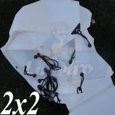 Lona 2,0 x 2,0m Plástica Branca 300 Micras + ilhoses a cada 50cm para Telhado Barraca Cobertura e Proteção Multi Uso + 8 Elásticos LonaFlex 20cm