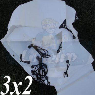 Lona 3,0 x 2,0m Plástica Branca 300 Micras + ilhoses a cada 50cm para Telhado Barraca Cobertura e Proteção Multi Uso + 10 Elásticos LonaFlex 20cm