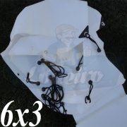 Lona 6,0 x 3,0m Plástica Branca 300 Micras + ilhoses a cada 50cm para Telhado Barraca Cobertura e Proteção Multi Uso + 36 Elásticos LonaFlex 20cm