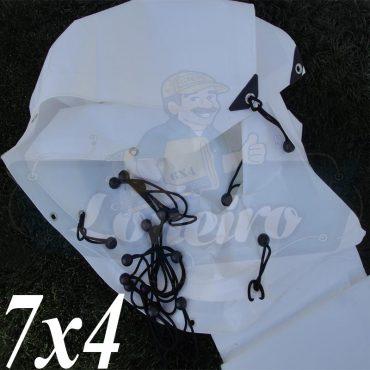 Lona 7,0 x 4,0m Plástica Branca 300 Micras + ilhoses a cada 50cm para Telhado Barraca Cobertura e Proteção Multi Uso + 44 Elásticos LonaFlex 20cm