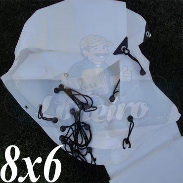 Lona 8,0 x 6,0m Plástica Branca 300 Micras + ilhoses a cada 50cm para Telhado Barraca Cobertura e Proteção Multi Uso + 56 Elásticos LonaFlex 20cm