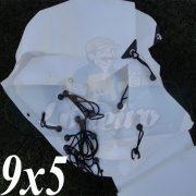 Lona 9,0 x 5,0m Plástica Branca 300 Micras + ilhoses a cada 50cm para Telhado Barraca Cobertura Proteção Multi Uso + 28 Elásticos LonaFlex 20cm