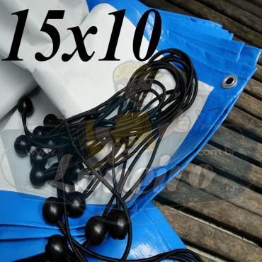 Lona: 15,0 x 10,0m Azul Branco 300 Micras com Ilhoses a cada 1 metro + 60 Elásticos LonaFlex 30cm de brinde!