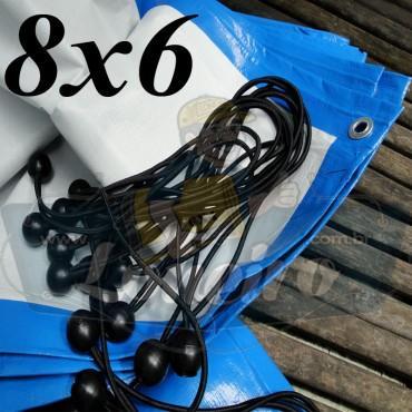 Lona 8,0 x 6,0m Azul Branco 300 Micras com ilhoses a cada 1 metro + 28 Elásticos LonaFlex 30cm de brinde!