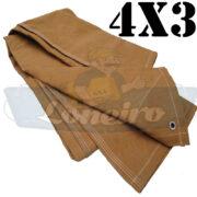 Lona 4,0 x 3,0m Encerado Caqui Algodão fio 8 Impermeável C4 com ilhoses nas 4 pontas