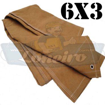 Lona 6,0 x 3,0m Encerado Caqui Algodão fio 8 Impermeável C4 com ilhoses nas 4 pontas