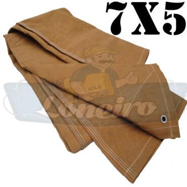 Lona 7,0 x 5,0m Encerado Caqui Algodão fio 8 Impermeável C4 com ilhoses nas 4 pontas