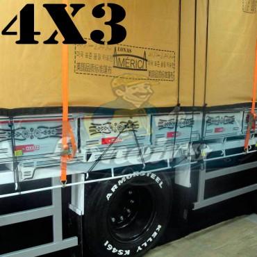 Lona 4,0 x 3,0m Encerado Premium Cotton RipStop de Algodão Caqui para Caminhão + 30 metros de Corda 8mm de brinde!