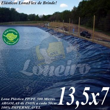 Lona para Lago Tanque de Peixes PP/PE: 13,5 x 7,0m Azul / Cinza impermeável e atóxica para Lago Artificial Ornamental Armazenagem de Água